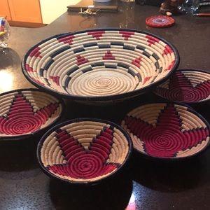Hopi coiled basket 4 small baskets Native American